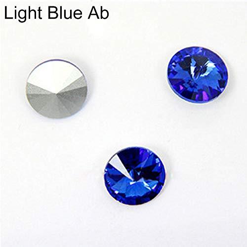 Danigrefinb DIY Charms, 50 Stück, Farbe AB, Glas, lose Perlen, DIY 14 mm, spitzer Rückseite, Strasssteine, glas, Light Blue Ab, Einheitsgröße