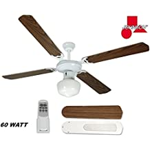 "VENTILATORE DA SOFFITTO 4 PALE CON KIT LUCE 130 CM "" JOHNSON "" 60 WATT 3 VELOCITA'"