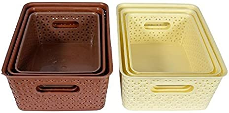 NAOE Fair Food - Royal Baskets For Storage - Brown & Ivory , Set Of 6 (Large, Medium And Small )