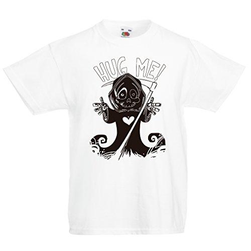 Kostüm Ideen Für 6 Gruppe (Kinder T-Shirt Der Tod kommt! Halloween Skelett Kleidung, böse Schädel Sichel (5-6 years Weiß)