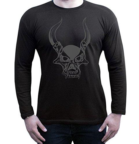 Halloween Langarm-Shirt Fun Motiv Skull für Herren, Männer, Geschenk-idee Party-Outfit Kostüm Hexen Gespenster Geister Farbe: schwarz Schwarz