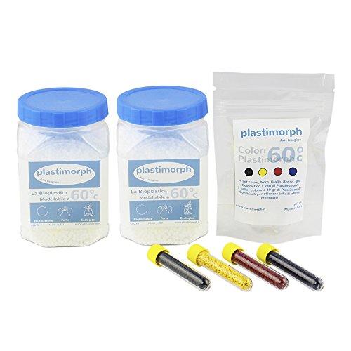 Plastimorph kit: 900gr + 1 conf. colori plastimorph - la plastica modellabile per le tue creazioni artistiche, il modellismo e il bricolage