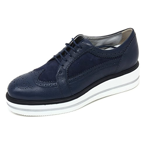 C8070 scarpa inglese donna HOGAN H323 n. route zeppa derby blu shoe woman Blu