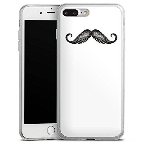 Apple iPhone 8 Slim Case Silikon Hülle Schutzhülle Schnurrbart Mustache Grau Silikon Slim Case transparent