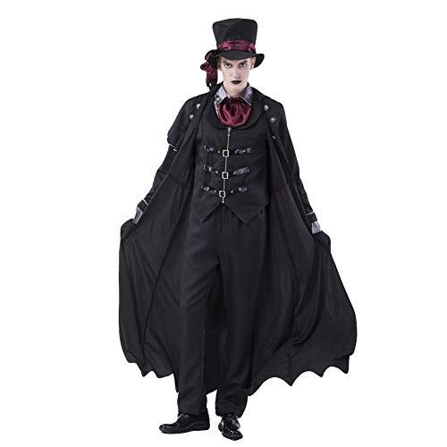 JIANG BREEZE Halloween Cosplay Vampire Count-Kostüm-Erwachsene Männer und Frauen Sexy Dracula Court Kostüm Halloween Masquerade Karneval Spiel Props (Böse Hexe Des Westens Sexy Kostüm)
