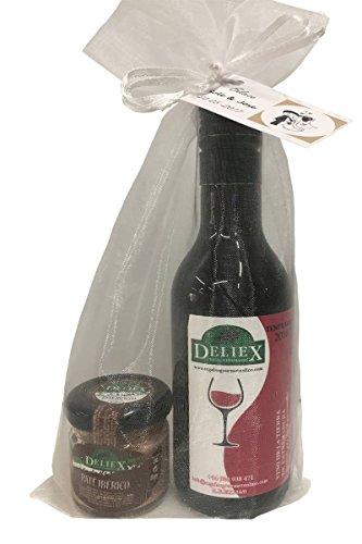 Regalo de vino tempranillo Extremeño con un tarro de paté ibérico, ambos de marca Deliex, en bolsa de organza (Pack 24 ud)