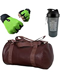 Hyper Adam AN-318 Premium Look Stylish Gym Bag, Protein Shaker And Gym Glove With Wrist Support Combo