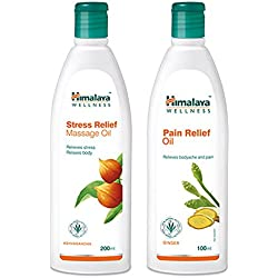 Himalaya Massage Oil Combo (Pack of 2) - Stress Relief Massage Oil- 200 ml & Pain Relief Oil- 100 ml