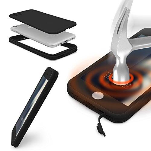 iPhone 7 Étui, Urcover Full Body Touch Case [Tactile 360 degrés] Coque Apple iPhone 7 Téléphone Smartphone Housse Bumper Noir-Noir Antichoc Noir/Noir