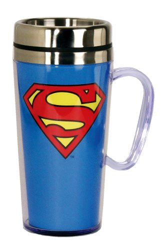 Price comparison product image Superman Insulated Blue Travel Mug with Handle