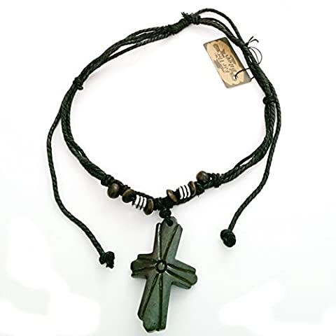 Surf Surfer Cord Necklace With Carved Bone Cross / Crucifix Pendant - A