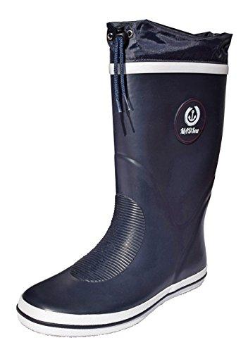 MADSea Damen Herren Gummistiefel Classic High Regenstiefel Langschaft ungefüttert, Größe:45 EU, Farbe:Navyblau