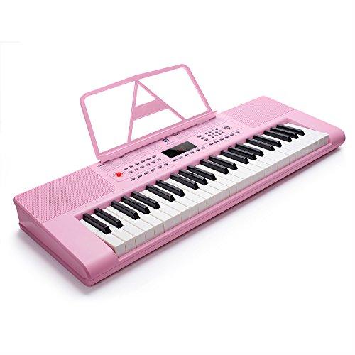 Tragbarer Elektronischer Tastatur, Klaviertastatur mit Ständer Elektronisches 49-Tasten-Keyboard für Anfänger, Rosa, von Vangoa
