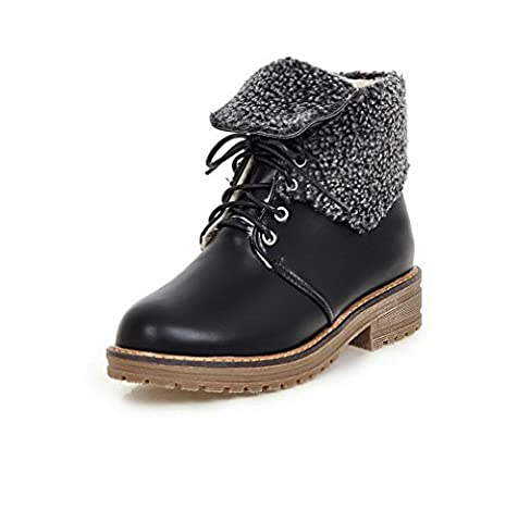 VogueZone009 Women's Low-Top Lace-Up Soft Material Low-Heels Round Closed Toe Boots, Black, 40