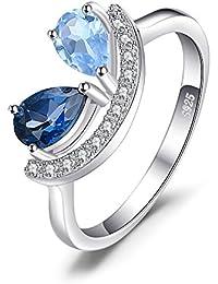 JewelryPalace Anillo de boda Moda 0.4ct Pera Natural Cielo Londres Topacio en plata de ley