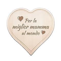 Idea Regalo - Tagliere a forma di Cuore con Incisione - Per la Miglior Mamma al Mondo - Regalo per Lei - Regalo per la Festa della Mamma - Tagliere Decorativo in Legno d'Acero Massiccio