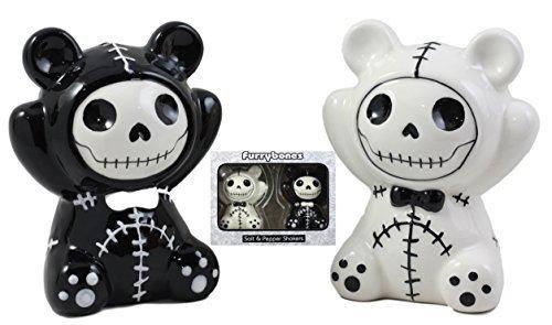 Ebros Furry bones Pandie die Voodoo Panda Bears Salz und Pfeffer Shaker Keramik Set Furrybones Collectible Skelett Figuren Küche & Esszimmer Mittelpunkt