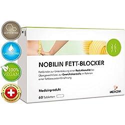 NOBILIN FETTBLOCKER - 60 Fettverbrenner Tabletten zur Unterstützung beim Abnehmen, Fettbinder mit natürlichem Faserkomplex zur Gewichtskontrolle bei Übergewicht, Fatblocker Diät Kapseln - Fatburner