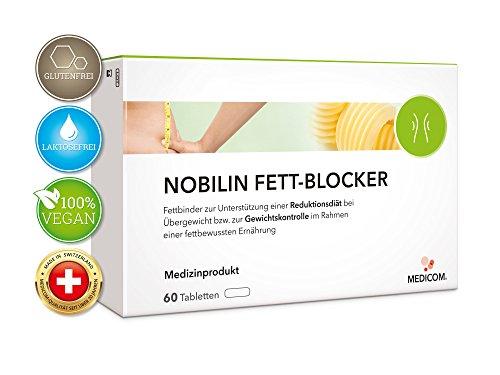 NOBILIN FETTBLOCKER - 60 Tabletten zur Unterstützung einer fettreduzierten Diät, Fettbinder mit natürlichem Faserkomplex vermindert die Kalorienaufnahme aus den Nahrungsfetten - Kräuter-diät-pille