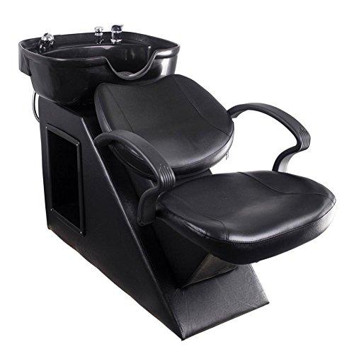 Shampoo sedia da barbiere risucchio lavaggio sedia con addominali plastica ciotola lavello per terme bellezza salone (nero)