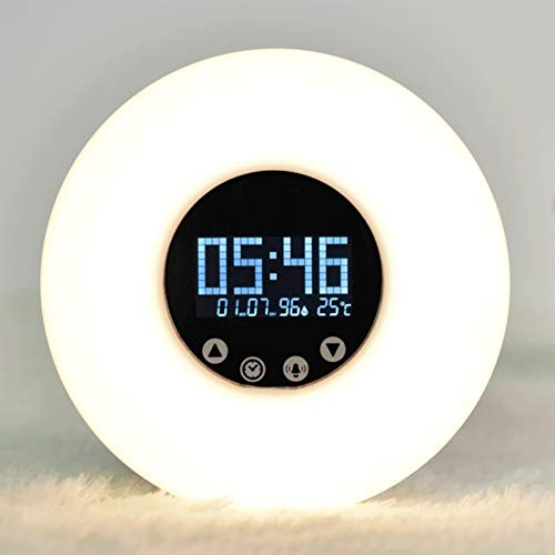 LL Wake-Up Light Smart Alarm Clock Natural Remote Control Multi-Function Bedside Lampe mit Temperatur-Display-Nachtbeleuchten,White,148X48X34MM (Control Alarm Remote Clock)