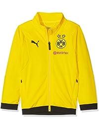2968fde0e8ea2 Puma BVB Poly Jacket Jr Logotipo del patrocinador with 2 Side Pockets Wit  Chaqueta