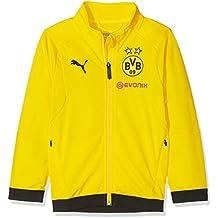 134e4275ec63 Puma Kinder BVB Poly Jacket Jr Sponsor Logo with 2 Side Pockets Wit Jacke