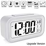 Smartone Digital Alarm Clock for Home Bedroom with Smart Automatic Sensor Backlight LCD Screen,Date & Temperature for Students Desk Table White
