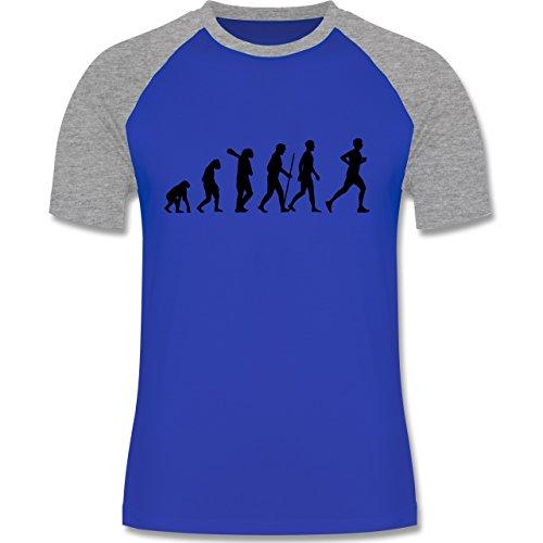 Shirtracer Evolution - Läufer Evolution - Herren Baseball Shirt Royalblau/Grau  meliert