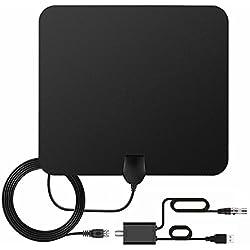 Antenne TNT HD Antenne TV Intérieur Puissante, Pendoo 60+ Miles/95KM Amplificateur de Signal à Longue portée, Soutien 4K 1080P VHF UHF FM, Câble Coaxial 16.5 FT, Conception Mince et Douce