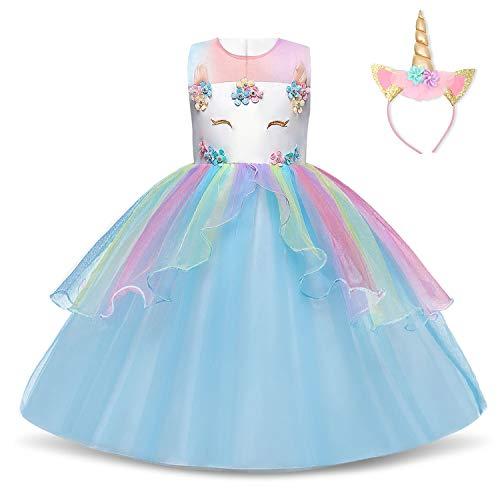 NNJXD Mädchen Einhorn Kleid Blume Applique Party Cosplay Halloween Phantasie Kostüm Headwear Größe (150) 7-8 Jahre Blau