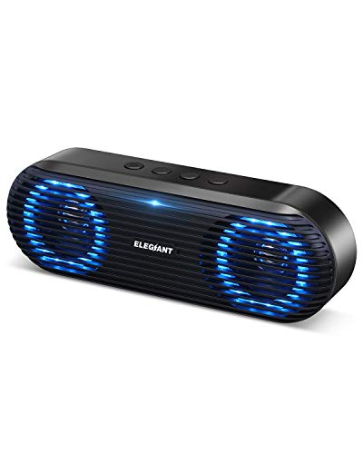 ELEGIANT Bluetooth Lautsprecher, Tragbarer Bluetooth 5.0 Lautsprecher Wireless Soundbox 10W Musikbox Boombox mit Stereo Sound Stark Bass unterstützt Freisprechen TF-Karte USB-Stick für Indoor Outdoor
