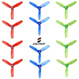 DALPROP Crystal Tri-Blade High-Speed Propeller 3 Leaf Props T5045 Mega-Pack 6Pairs/12pieces(6CW/6CCW) for Drone Quadcopter FPV RC Racing(Red/Green/Blue)