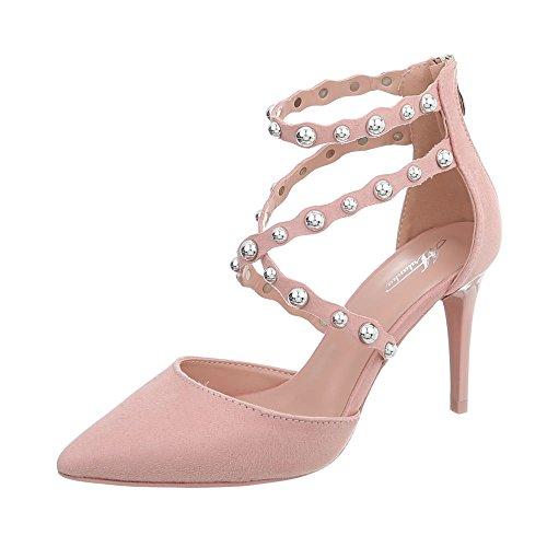Ital-Design High Heel Pumps Damen-Schuhe Pfennig-/Stilettoabsatz Heels Reißverschluss Pink, Gr 39, B-50-
