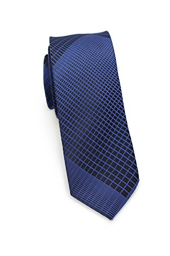 PUCCINI Krawatte, Trendige schmale Krawatte, modernes Netz-Muster, verschiedenen Farben, 6 cm Skinny / Slim Tie, Mikrofaser, Handarbeit (Blau) (Skinny Tie Blaue)