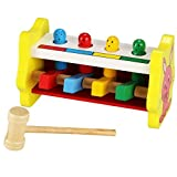 Cheesea Baby Wooden Educational Development Percussion Toy Beat Knock Table for Toddlers with Mallet