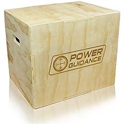 POWER GUIDANCE Caja pliométrica de madera 3 en 1 - Ideal para entrenamiento cruzado - 40/35/30CM, Plyo Caja de madera, Plyo Box