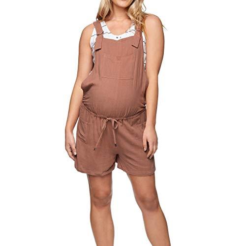 mstandsshorts Kurze Trägerhose Umstandsleggings Schwangere Umstandshose mit Bauchband Umstands Shorts Elastische Mutterschaft Schwangerschafts ZHANSANFM (2XL, Kaffee) ()