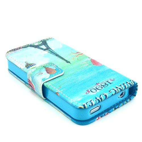 MOONCASE iPhone 4 Case Motif Conception Coque en Cuir Portefeuille Housse de Protection Étui à rabat Case pour iPhone 4 4S P60