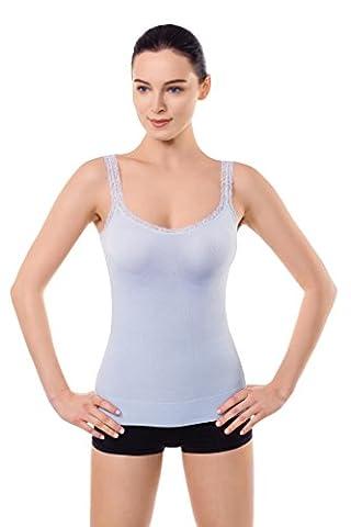 MD Stringer Damen Tops Shapewear Body Shaper Bauchweg Miederkleid Trägertop Hellblau L