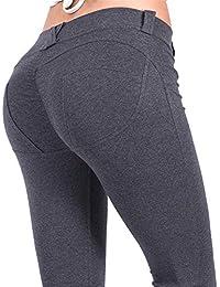 Mat Nina Damen 100% Baumwolle Buttock Lifting Leggings Push Up Stretch  Yogahose Sporthose Einfarbig f377eec8e4