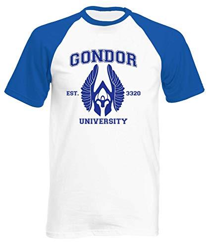 Pre-short Sleeve Graphic T-shirt (Reality Glitch Gondor University Mens Short Sleeve Baseball T-Shirt (Small, White/Royal Blue))