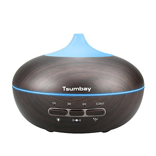 Umidificatore olio 300ml, led 7 colori diffusore ad ultrasuoni aromaterapia vapore freddo legno tocco d'aria purificante auto-off 4 impostazioni tempo per i'uso in camera da yoga spa casa ufficio