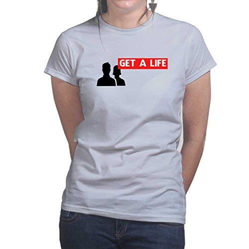 Womens Get A Life Social Media Funny Sarcastic Ladies T Shirt (Tee, Top) Grey