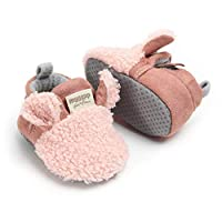 TMEOG Unisex-Baby Newborn Cozie Fleece Booties with Non Skid Bottom Infant Winter Shoes (0-6 Months, E_Pink)