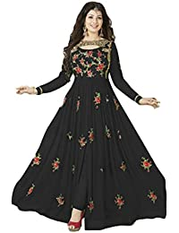VIHA Women's Georgette Dress Material (Viha_Free Size_Black)