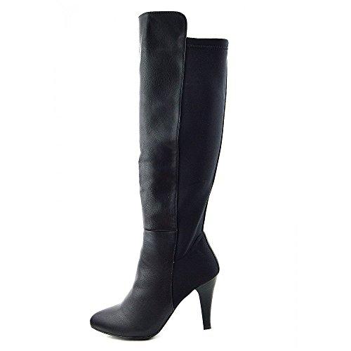 Kick Calzature da donna nero al ginocchio tacco alto lungo Scarpe Nero opaco