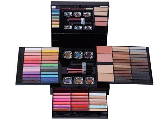 Professional 85 Farben Lidschatten Palette Makeup Contouring Kit Kombination mit Lipgloss, Blusher, Presspulver und Concealer, Kosmetik Make Up Kit Set Box mit (Base Make Up Schwarze)