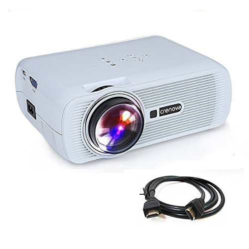 Crenova XPE460 Beamer, LED Upgrade Beamer 800*480 Auflösung Augenschutz inklusive HDMI Kabel für das Heim- Gartenkino verknüpfbar mit TV Laptop PC Spielekonsole SD Karte unterstützt iPad /Smartphone