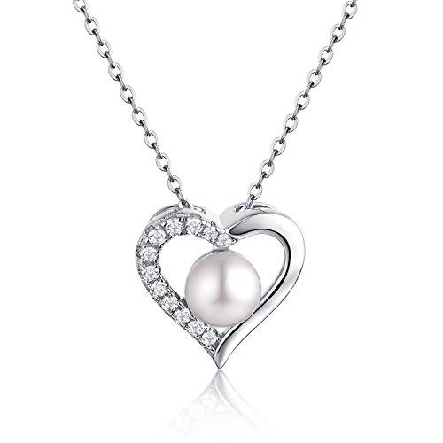 (starchenie 925Sterling Silber Herz/Infinity Halskette für Frauen, mit 7mm freshwarter Pearl Halskette Damen Hochzeit Jahrestag Gif Kette Länge 45–50Extend mit Schmuck Box)